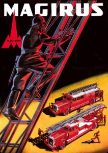 Schild Feuerwehrmann auf Leiter